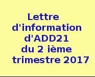 Lettre d'information d'ADD21 du 2 ème trimestre 2017